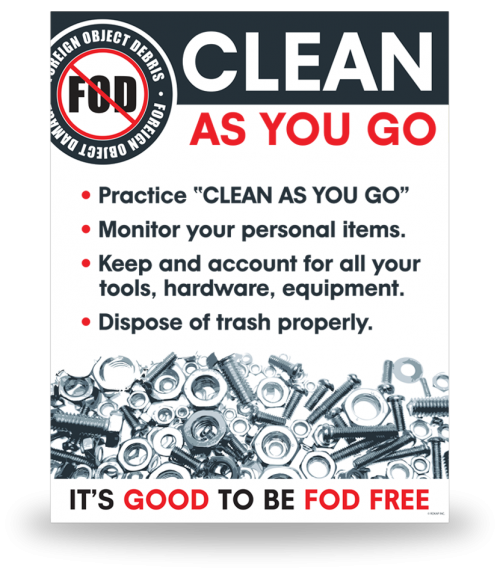 FOD Sign 11x14 Clean As You Go