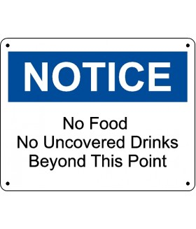 FOD Sign 11x14 No Food or Drink