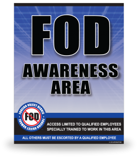 FOD Sign 11x14 Awareness Blue