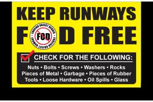 FOD Sign 24x36 FOD Free Runway - Alumaboard