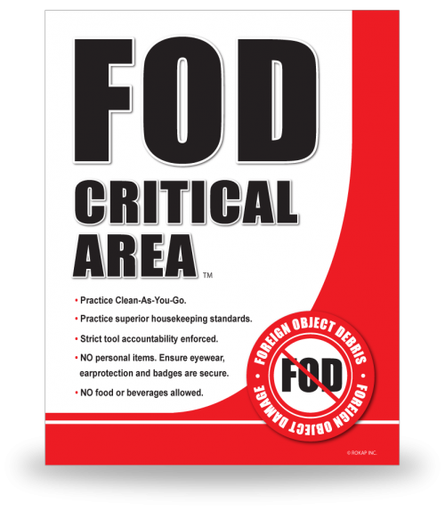 FOD Sign 11x14 Critical Area New