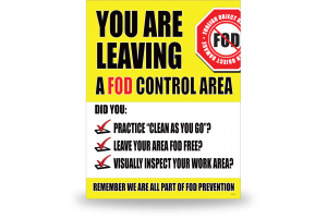 FOD Sign 11x14 Leaving Control Area - DiBond