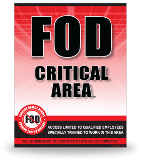 FOD Sign 11x14 Critical Red