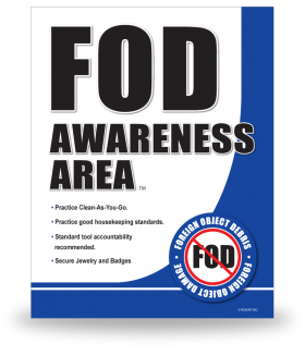 FOD Sign 11x14 Awareness Area New