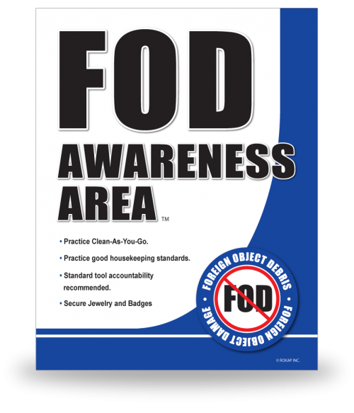 FOD Sign 11x14 Awareness Area New