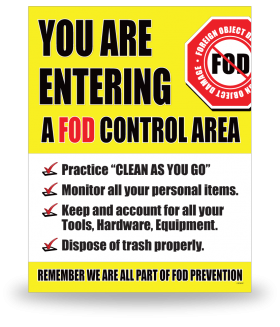 FOD Sign 11x14 Entering Control Area